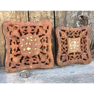 VTG Carved Wood Trivets, Made in India